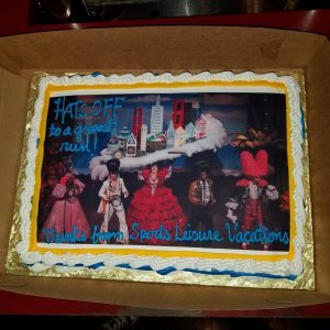 A thank you cake sent to the cast of Beach Blanket Babylon as their 45 year run in San Francisco.